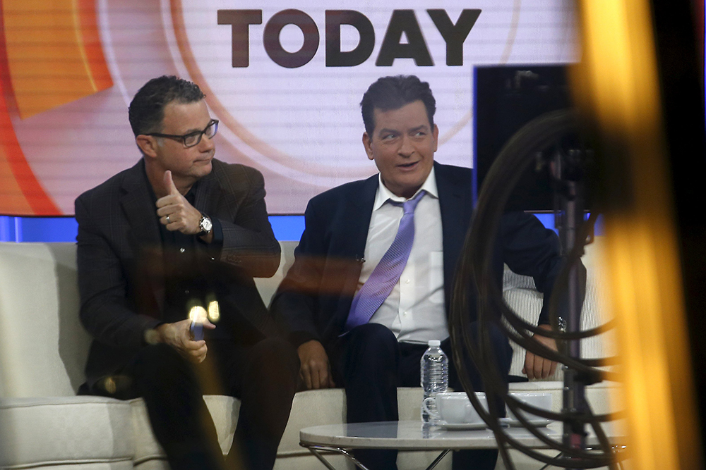 Actor Charlie Sheen is seen on the set of the NBC Today show prior to being interviewed by host Matt lauer in New York